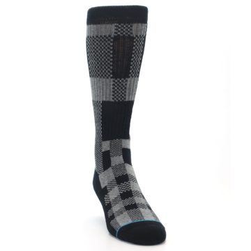 Image of Grey Black Checkered Men's Casual Socks (side-1-front-03)