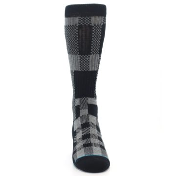 Image of Grey Black Checkered Men's Casual Socks (front-04)