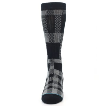 Image of Grey Black Checkered Men's Casual Socks (front-05)