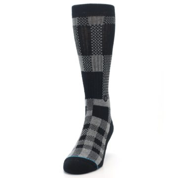 Image of Grey Black Checkered Men's Casual Socks (side-2-front-06)