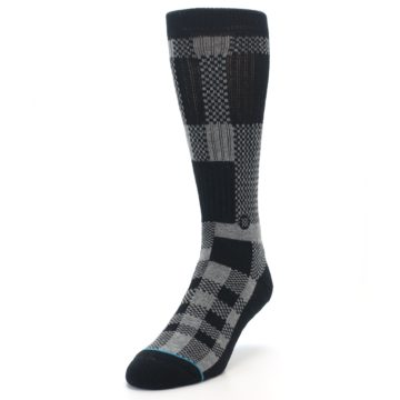 Image of Grey Black Checkered Men's Casual Socks (side-2-front-07)