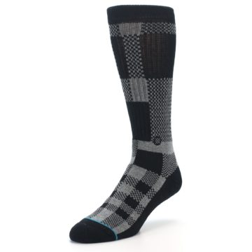 Image of Grey Black Checkered Men's Casual Socks (side-2-front-08)