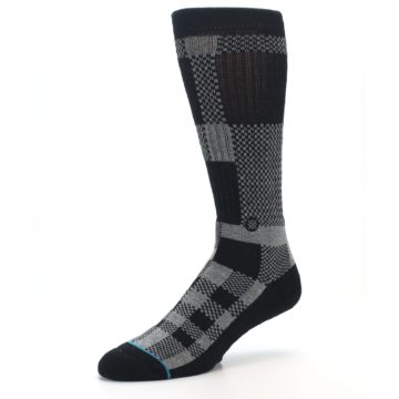 Image of Grey Black Checkered Men's Casual Socks (side-2-09)