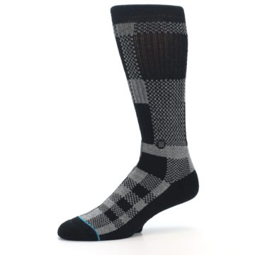 Image of Grey Black Checkered Men's Casual Socks (side-2-10)