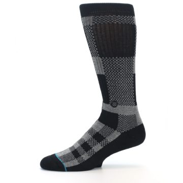 Image of Grey Black Checkered Men's Casual Socks (side-2-11)