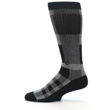 Image of Grey Black Checkered Men's Casual Socks (side-2-12)
