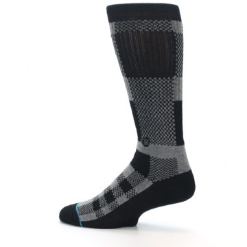 Image of Grey Black Checkered Men's Casual Socks (side-2-13)