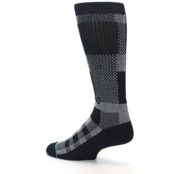 Image of Grey Black Checkered Men's Casual Socks (side-2-back-14)