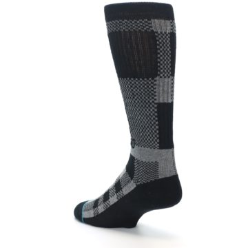Image of Grey Black Checkered Men's Casual Socks (side-2-back-15)