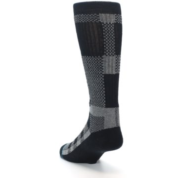 Image of Grey Black Checkered Men's Casual Socks (side-2-back-16)
