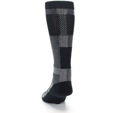 Image of Grey Black Checkered Men's Casual Socks (back-17)