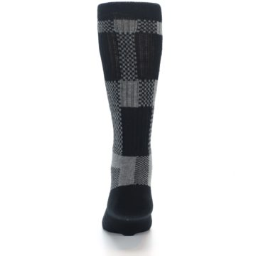 Image of Grey Black Checkered Men's Casual Socks (back-18)
