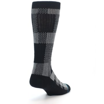 Image of Grey Black Checkered Men's Casual Socks (side-1-back-21)