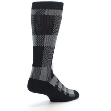 Image of Grey Black Checkered Men's Casual Socks (side-1-back-22)