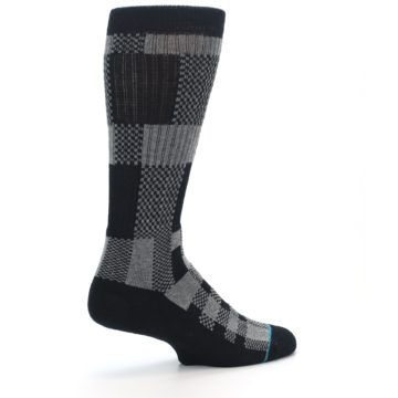 Image of Grey Black Checkered Men's Casual Socks (side-1-23)
