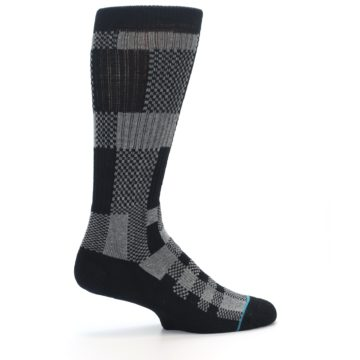 Image of Grey Black Checkered Men's Casual Socks (side-1-24)