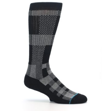 Image of Grey Black Checkered Men's Casual Socks (side-1-25)