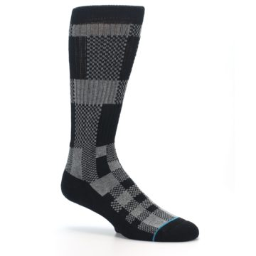 Image of Grey Black Checkered Men's Casual Socks (side-1-26)