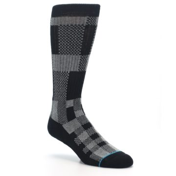 Image of Grey Black Checkered Men's Casual Socks (side-1-27)