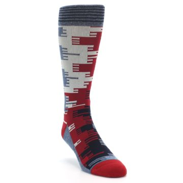 Image of Red Blue Partial Stripe Men's Casual Socks (side-1-front-02)