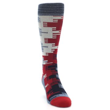 Image of Red Blue Partial Stripe Men's Casual Socks (side-1-front-03)