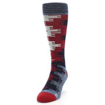 Image of Red Blue Partial Stripe Men's Casual Socks (side-2-front-06)