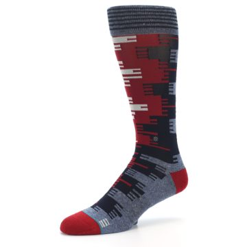 Image of Red Blue Partial Stripe Men's Casual Socks (side-2-09)