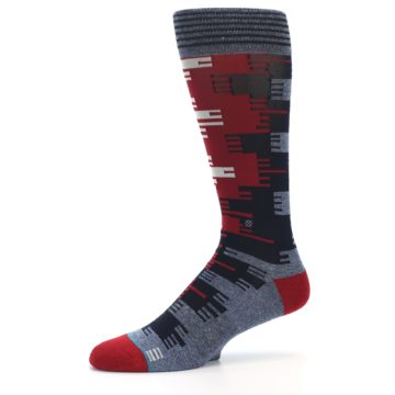 Image of Red Blue Partial Stripe Men's Casual Socks (side-2-10)