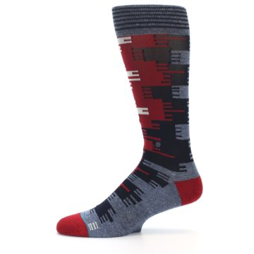 Image of Red Blue Partial Stripe Men's Casual Socks (side-2-11)