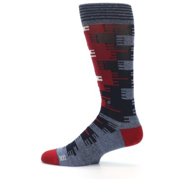 Image of Red Blue Partial Stripe Men's Casual Socks (side-2-12)