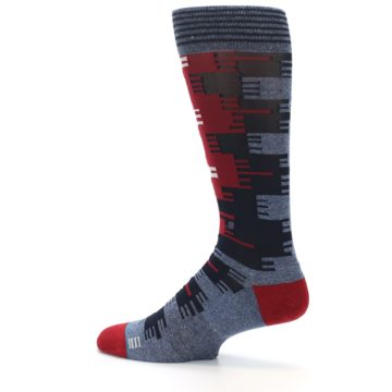 Image of Red Blue Partial Stripe Men's Casual Socks (side-2-13)