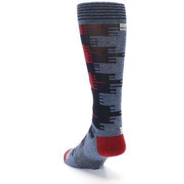 Image of Red Blue Partial Stripe Men's Casual Socks (side-2-back-16)