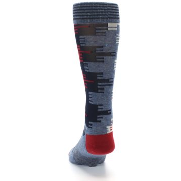 Image of Red Blue Partial Stripe Men's Casual Socks (back-17)