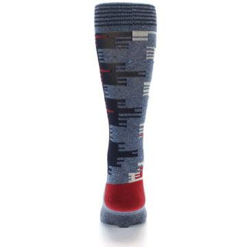 Image of Red Blue Partial Stripe Men's Casual Socks (back-18)
