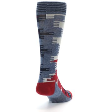Image of Red Blue Partial Stripe Men's Casual Socks (side-1-back-20)