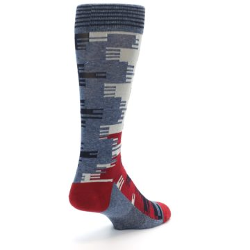 Image of Red Blue Partial Stripe Men's Casual Socks (side-1-back-21)