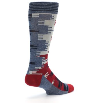 Image of Red Blue Partial Stripe Men's Casual Socks (side-1-back-22)