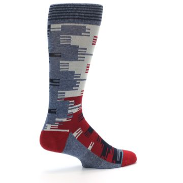 Image of Red Blue Partial Stripe Men's Casual Socks (side-1-23)