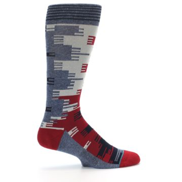 Image of Red Blue Partial Stripe Men's Casual Socks (side-1-24)