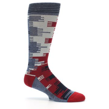 Image of Red Blue Partial Stripe Men's Casual Socks (side-1-25)
