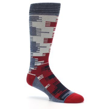 Image of Red Blue Partial Stripe Men's Casual Socks (side-1-26)