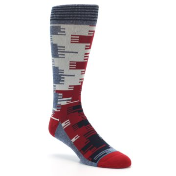 Image of Red Blue Partial Stripe Men's Casual Socks (side-1-27)