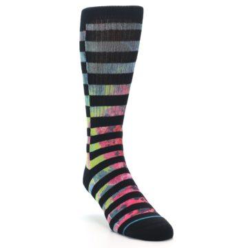 Image of Black Multi Stripe Men's Casual Socks (side-1-front-02)