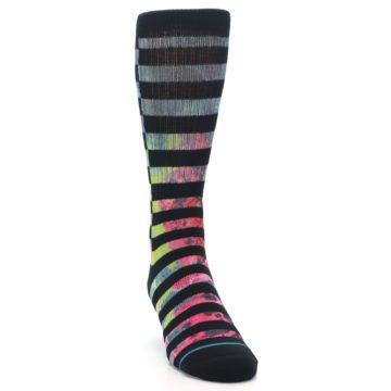 Image of Black Multi Stripe Men's Casual Socks (side-1-front-03)