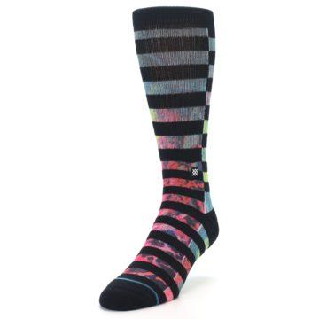 Image of Black Multi Stripe Men's Casual Socks (side-2-front-07)