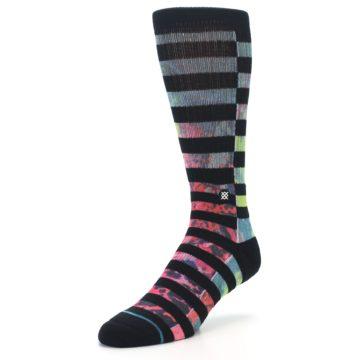 Image of Black Multi Stripe Men's Casual Socks (side-2-front-08)