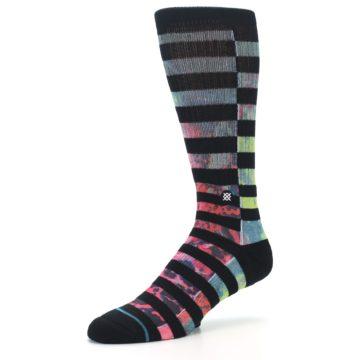 Image of Black Multi Stripe Men's Casual Socks (side-2-09)