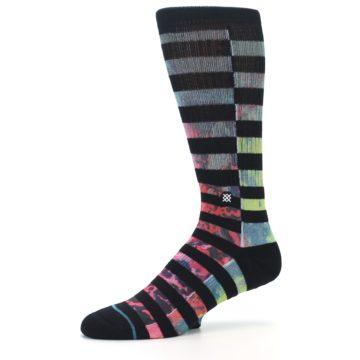 Image of Black Multi Stripe Men's Casual Socks (side-2-10)