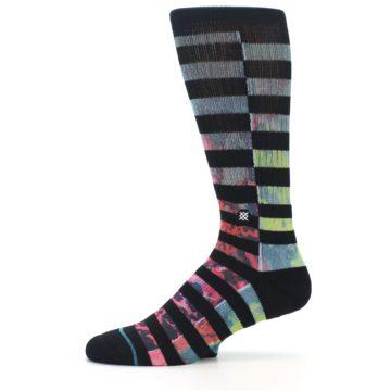 Image of Black Multi Stripe Men's Casual Socks (side-2-11)