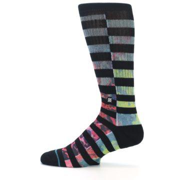 Image of Black Multi Stripe Men's Casual Socks (side-2-12)